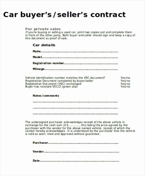 Private Car Sale Contract Template Elegant Sample Car Sales Contract 12 Examples In Word Pdf