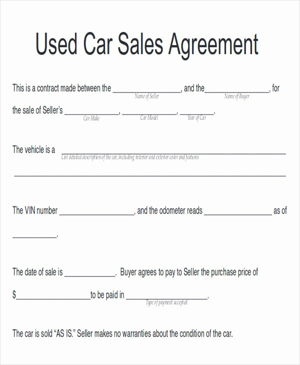 Private Car Sale Contract Template Inspirational Sample Automobile Sales Contracts 9 Examples In Word Pdf