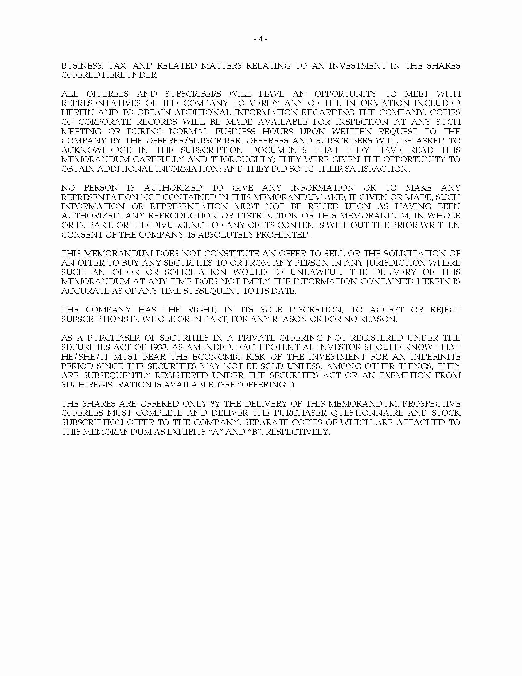 Private Placement Memorandum Template Inspirational Nevada Private Placement Memorandum for Stock In Line