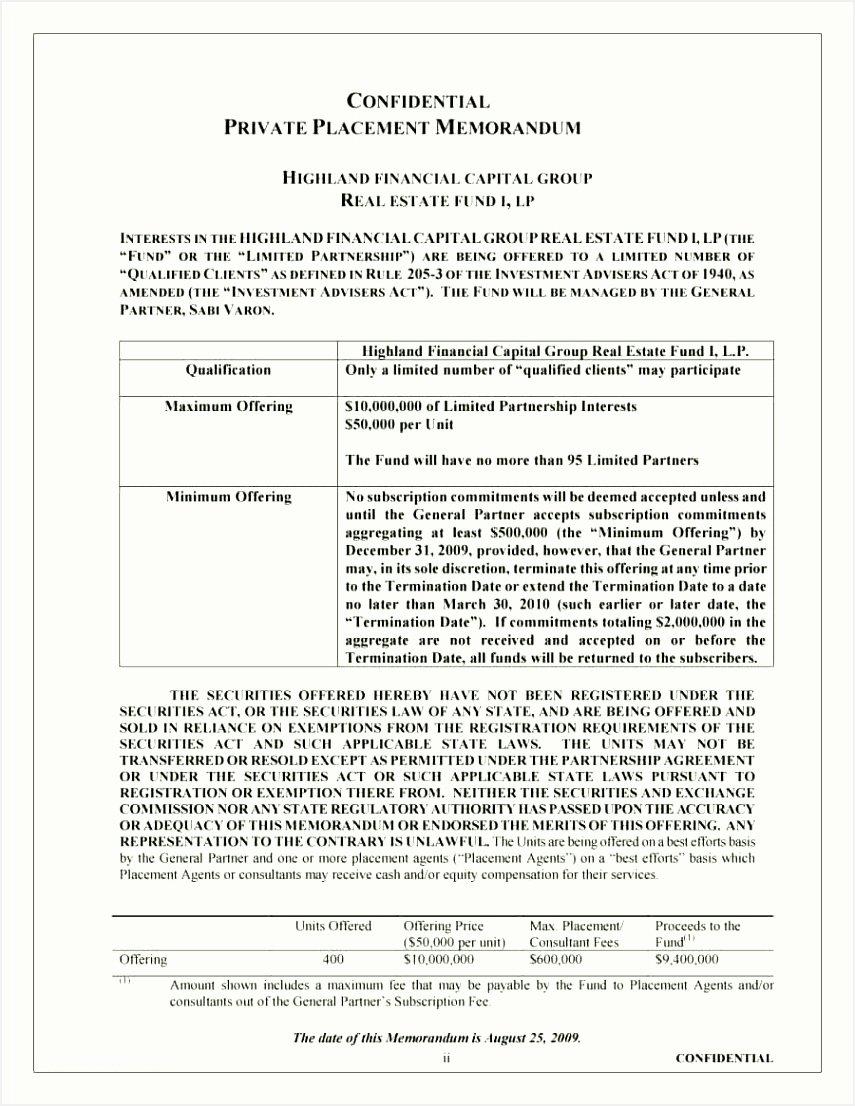 Private Placement Memorandum Template Inspirational Private Placement Memorandum Sample Free