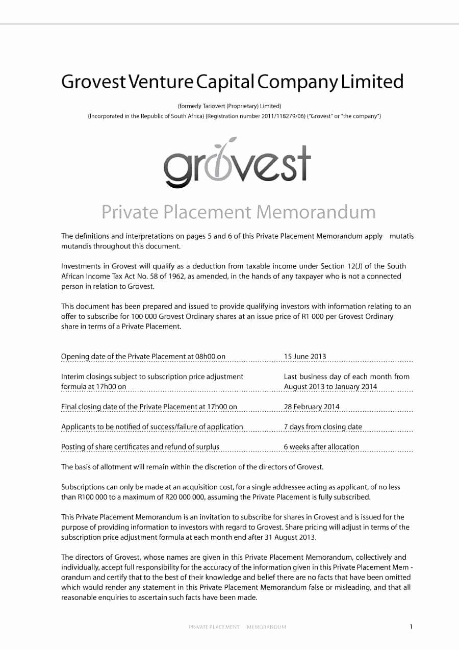 Private Placement Memorandum Template New 40 Private Placement Memorandum Templates [word Pdf]