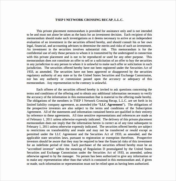 Private Placement Memorandum Template Unique Sample Private Placement Memorandum 8 Documents In Pdf