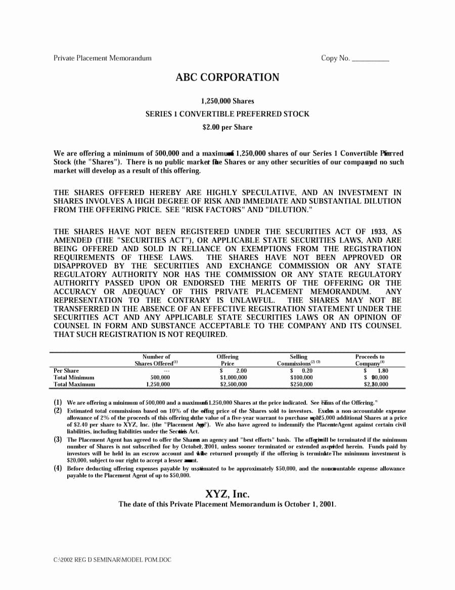 Private Placement Memorandum Templates Awesome 40 Private Placement Memorandum Templates [word Pdf]