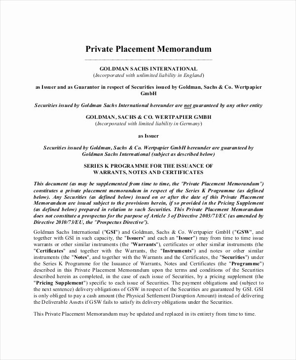 Private Placement Memorandum Templates Best Of Private Placement Memorandum 12 Free Pdf Documents