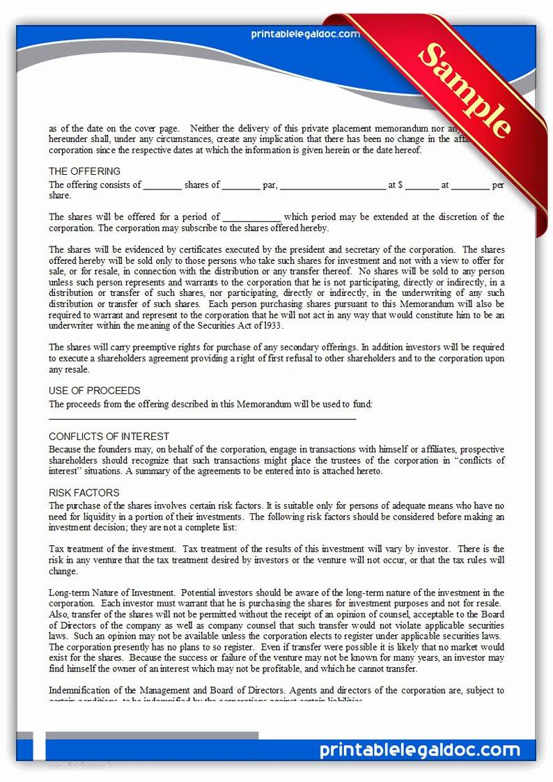 Private Placement Memorandum Templates Fresh Free Printable Private Placement Memorandum form Generic