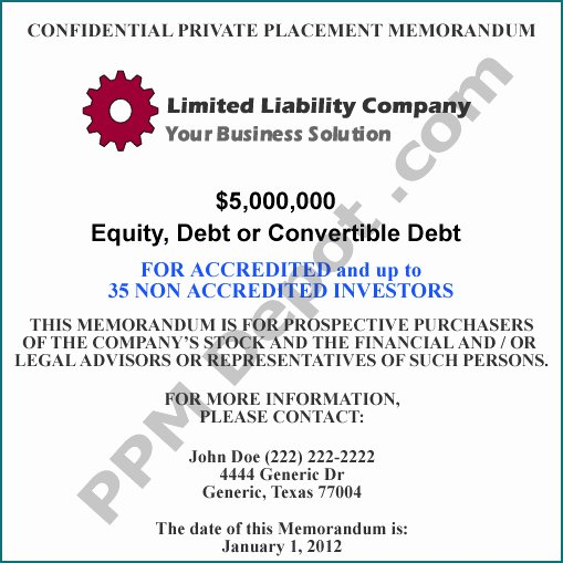 Private Placement Memorandum Templates Fresh Llc Equity Debt Convertible Debt 505 Ppm Template
