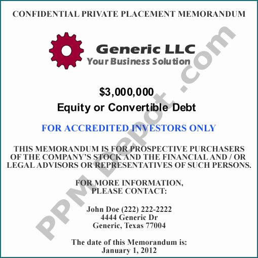 Private Placement Memorandum Templates Fresh Llc Equity or Convertible Debt Bo 506c Template