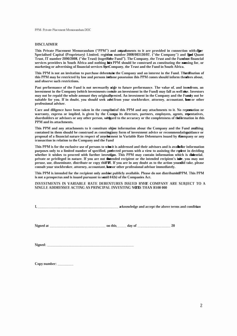 Private Placement Memorandum Templates Luxury 40 Private Placement Memorandum Templates [word Pdf]