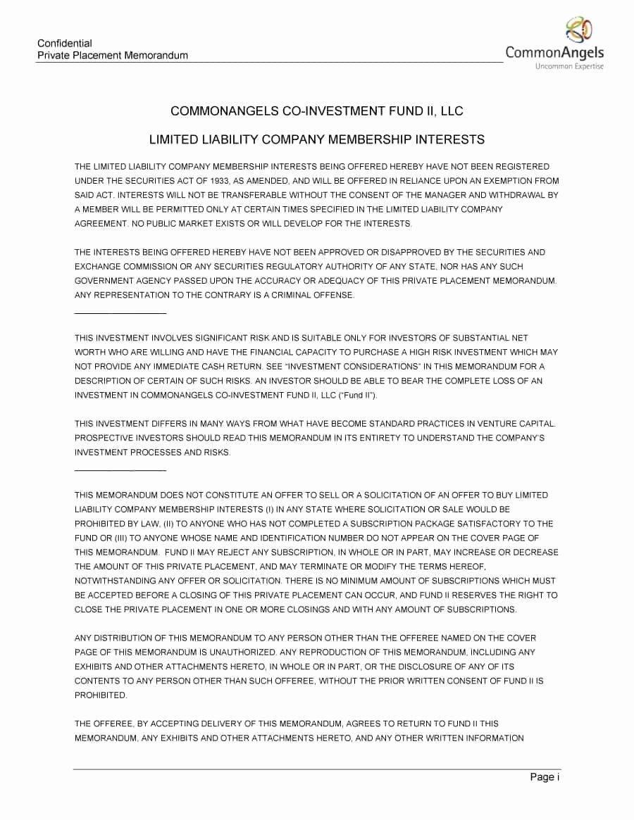 Private Placement Memorandum Templates New 40 Private Placement Memorandum Templates [word Pdf]