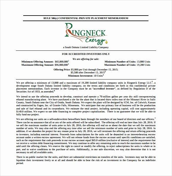 Private Placement Memorandum Templates Unique Sample Private Placement Memorandum 8 Documents In Pdf