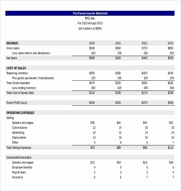 Pro forma Income Statement Template Elegant In E Statement Template 25 Free Word Excel Pdf