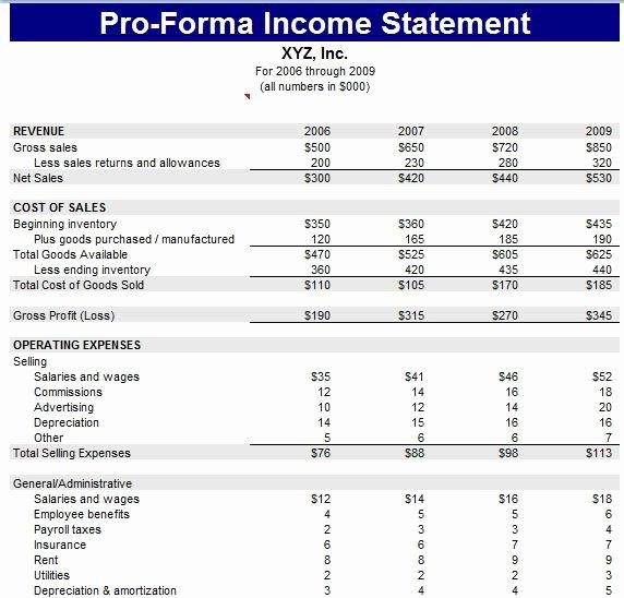 Pro forma Income Statement Template Fresh Proforma Balance Sheet Template