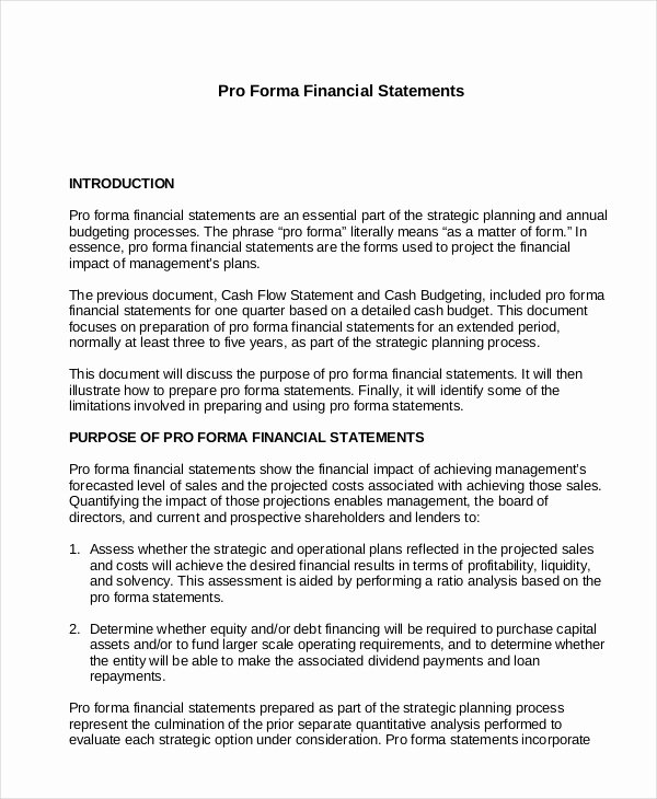 Pro forma Income Statement Template Lovely In E Statement 18 Free Pdf Excel Word Documents