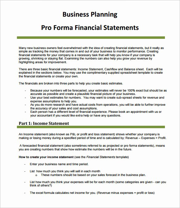 Pro forma Income Statement Template Luxury Sample Proforma In E Statement 9 Documents In Pdf Word