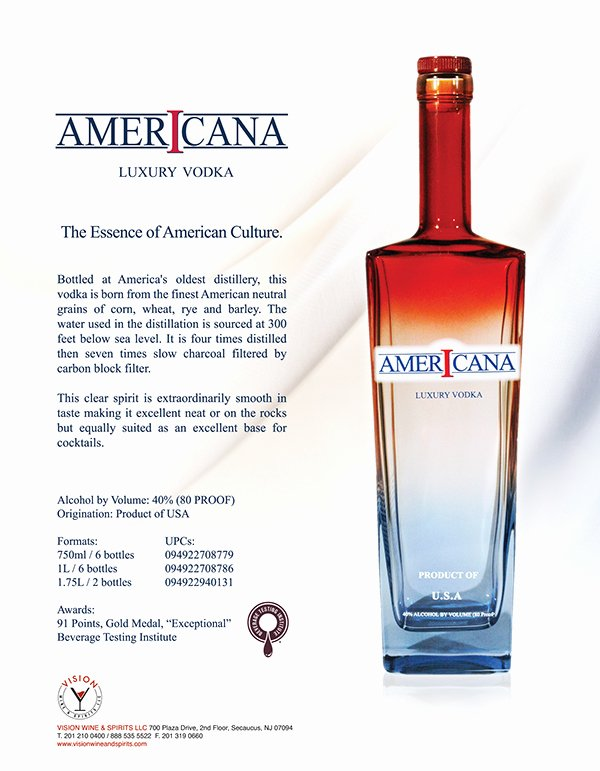 Product Sell Sheet Template Elegant Americana Vodka