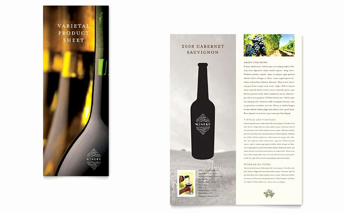 Product Sell Sheet Template Luxury Vineyard & Winery Datasheet Template Design
