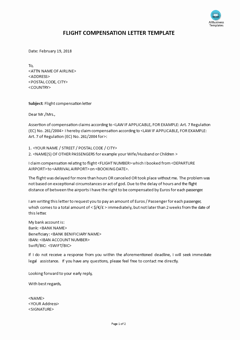Professional Compensation Plan Template Beautiful Flight Delay Claim Letter
