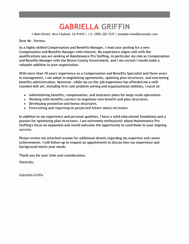Professional Compensation Plan Template Beautiful Pensation and Benefits Cover Letter Examples