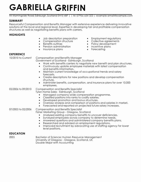 Professional Compensation Plan Template Elegant Pensation and Benefits Cv Template