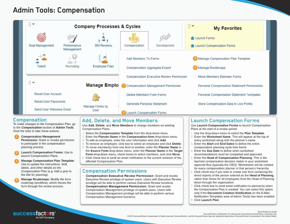 Professional Compensation Plan Template Fresh Successfactors Professional Edition Admin Quick Reference
