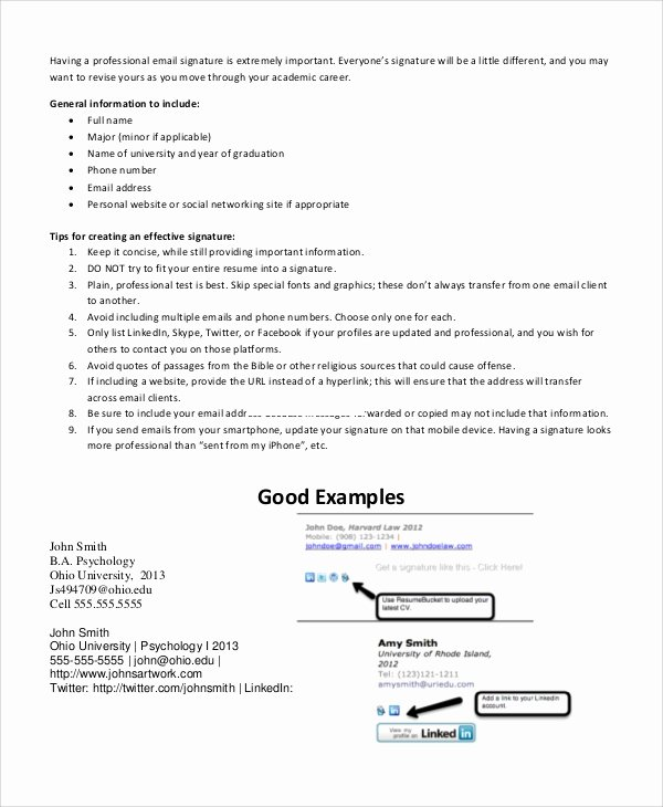 Professional E Mail Template Best Of Sample Email Signature Example 11 Documents In Pdf