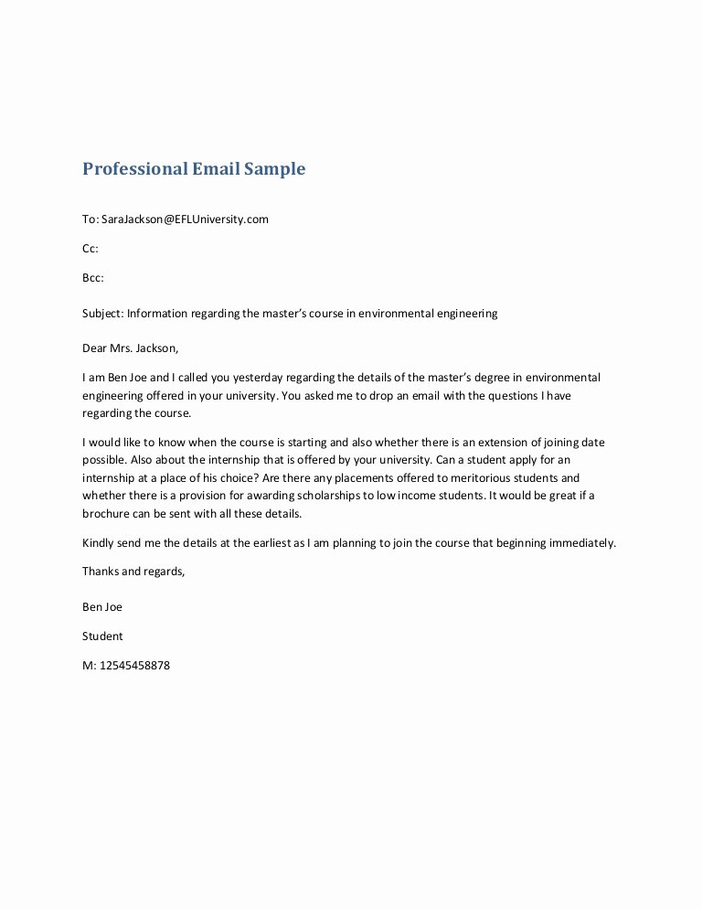 Professional E Mail Template New Professional Email Sample