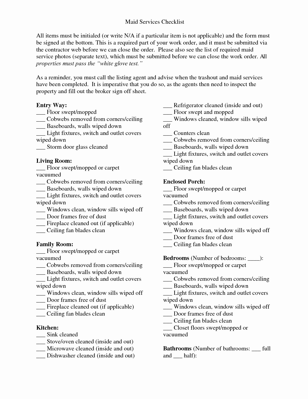 Professional House Cleaning Checklist Template Elegant Actual Maid Service Cleaning Checklist