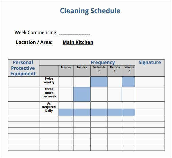 Professional House Cleaning Checklist Template Elegant House Cleaning Schedule Template Outside Spaces