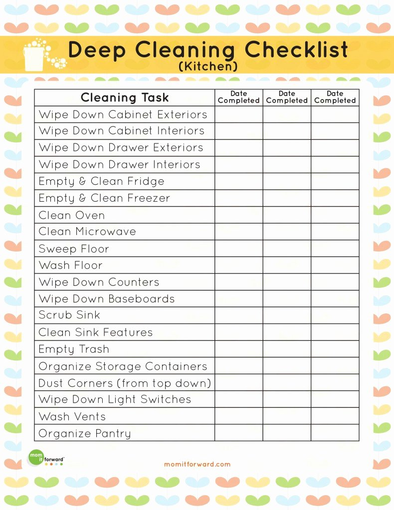 Professional House Cleaning Checklist Template Elegant Printable Kitchen Cleaning Checklist Mom It forwardmom
