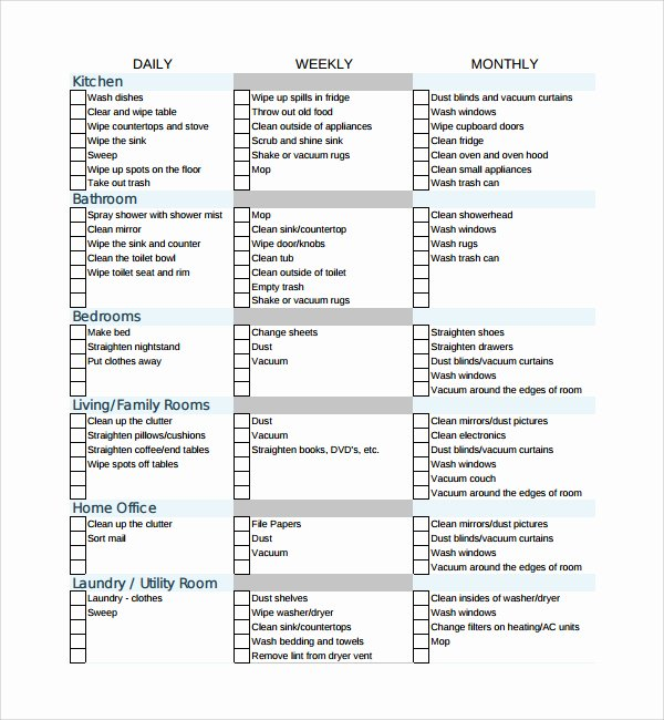 Professional House Cleaning Checklist Template Unique Professional House Cleaning Checklist Template