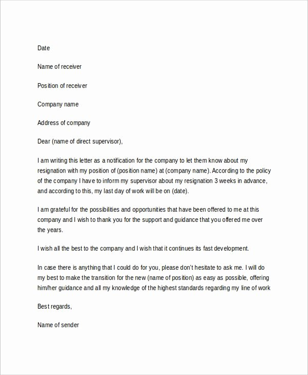 Professional Resignation Letter Template Beautiful 10 Sample Resignation Letters Doc Pdf