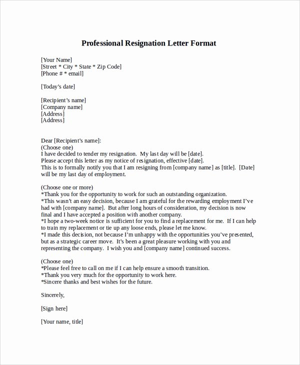 Professional Resignation Letter Template Best Of Professional Letter format Sample 8 Examples In Pdf Word