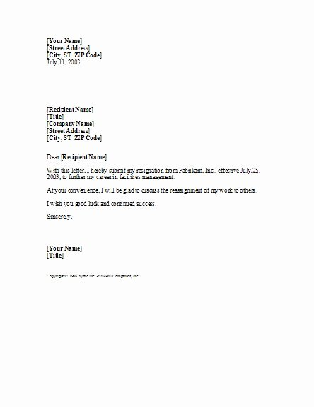 Professional Resignation Letter Template Elegant Basic yet Professional Sample Resignation Letter Template