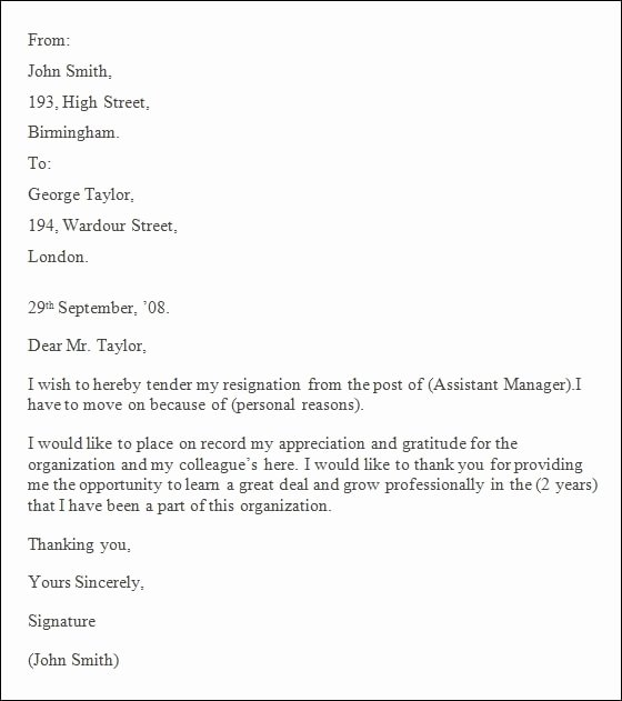 Professional Resignation Letter Template Elegant Professional Resignation Letter format