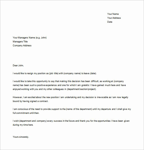 Professional Resignation Letter Template Elegant Resignation Letter Templates 14 Free Sample Example