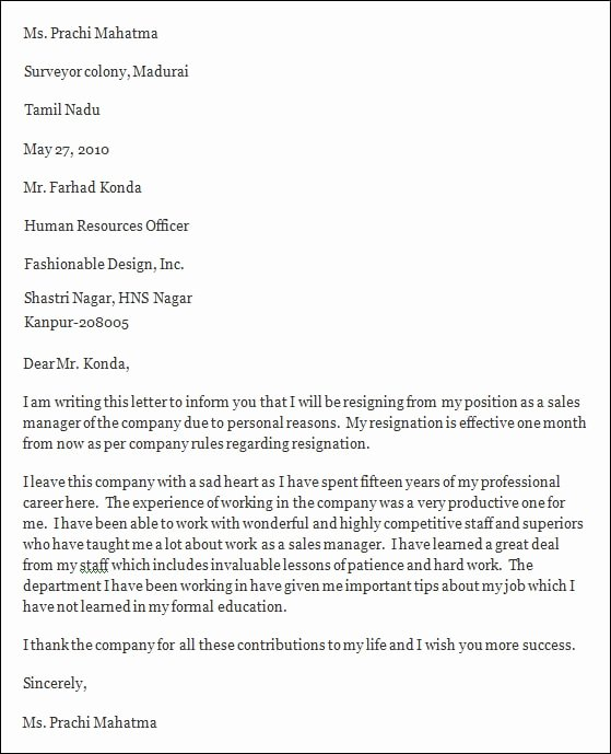 Professional Resignation Letter Template Inspirational Free 7 Professional Resignation Letter In Pdf