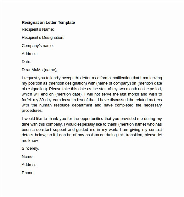 Professional Resignation Letter Template Lovely Sample Resignation Letter Example 10 Free Documents