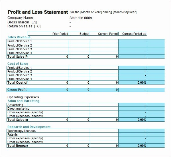 Profit and Loss Template Pdf Luxury Profit and Loss Statement Template