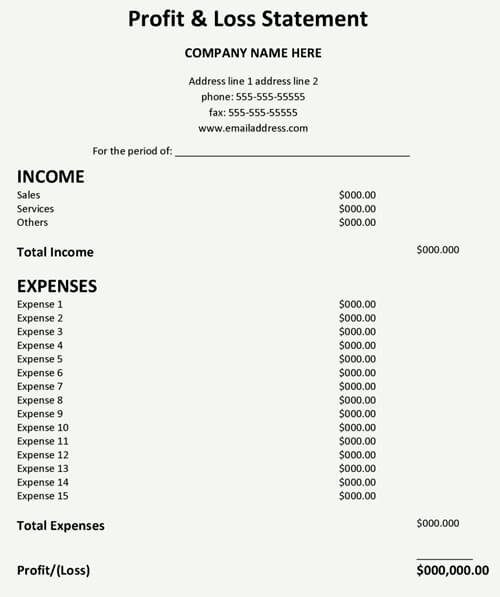 Profit and Loss Template Word Elegant Profit and Loss Statement Template