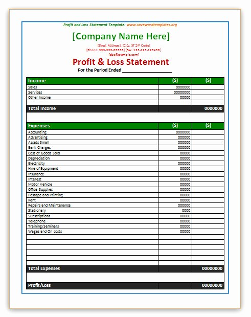 Profit and Loss Template Word Inspirational Profit and Loss Statement Template