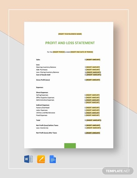 sample profit loss statement