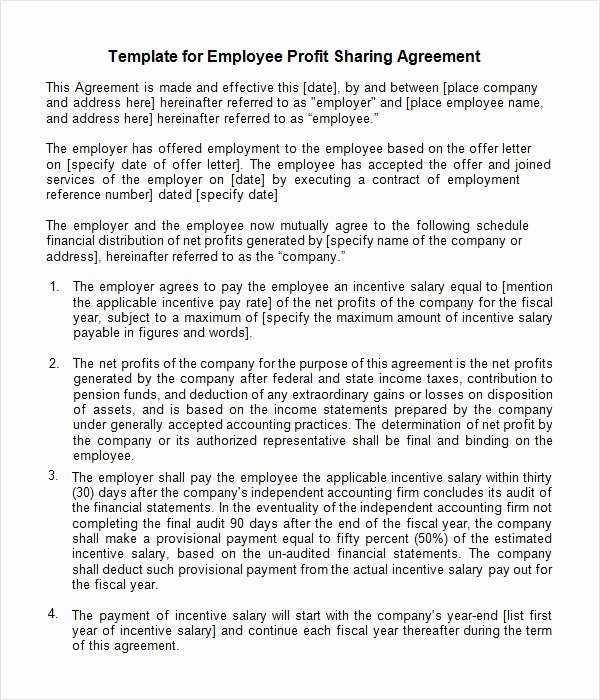 Profit Sharing Agreement Template Awesome 30 Profit Sharing Plan Template