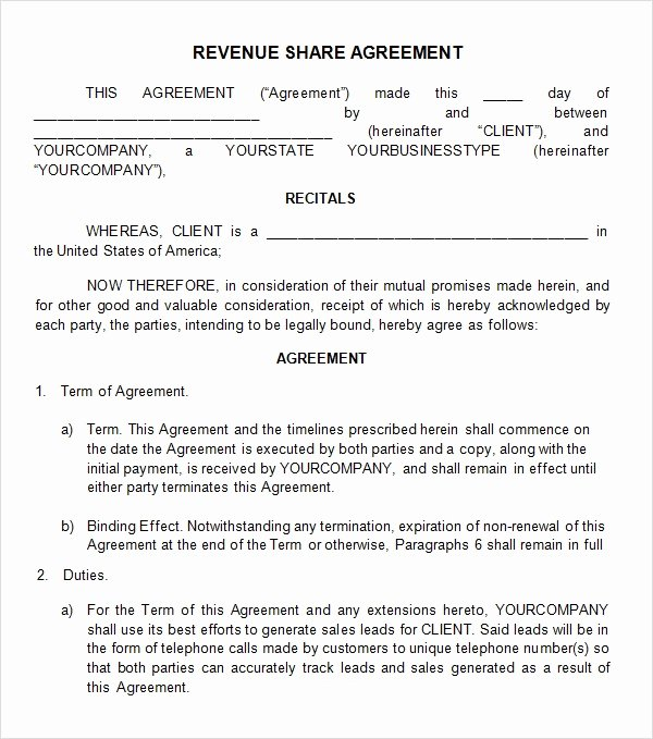 Profit Sharing Agreement Template Awesome Profit Sharing Agreement 7 Free Pdf Doc Download