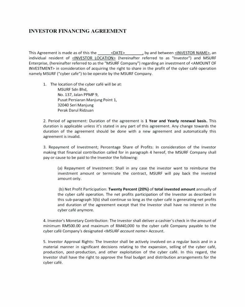 Profit Sharing Agreement Template Elegant Profit Share Agreement