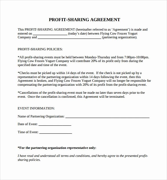 Profit Sharing Agreement Template New Sample Profit Sharing Agreement 12 Examples format