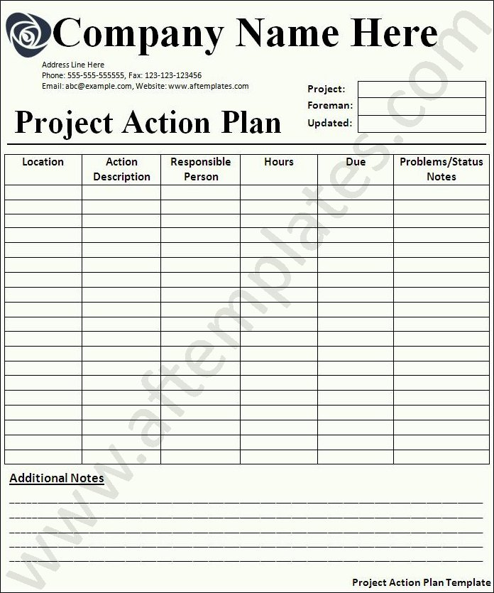 Project Action Plan Template Beautiful Action Plan Template