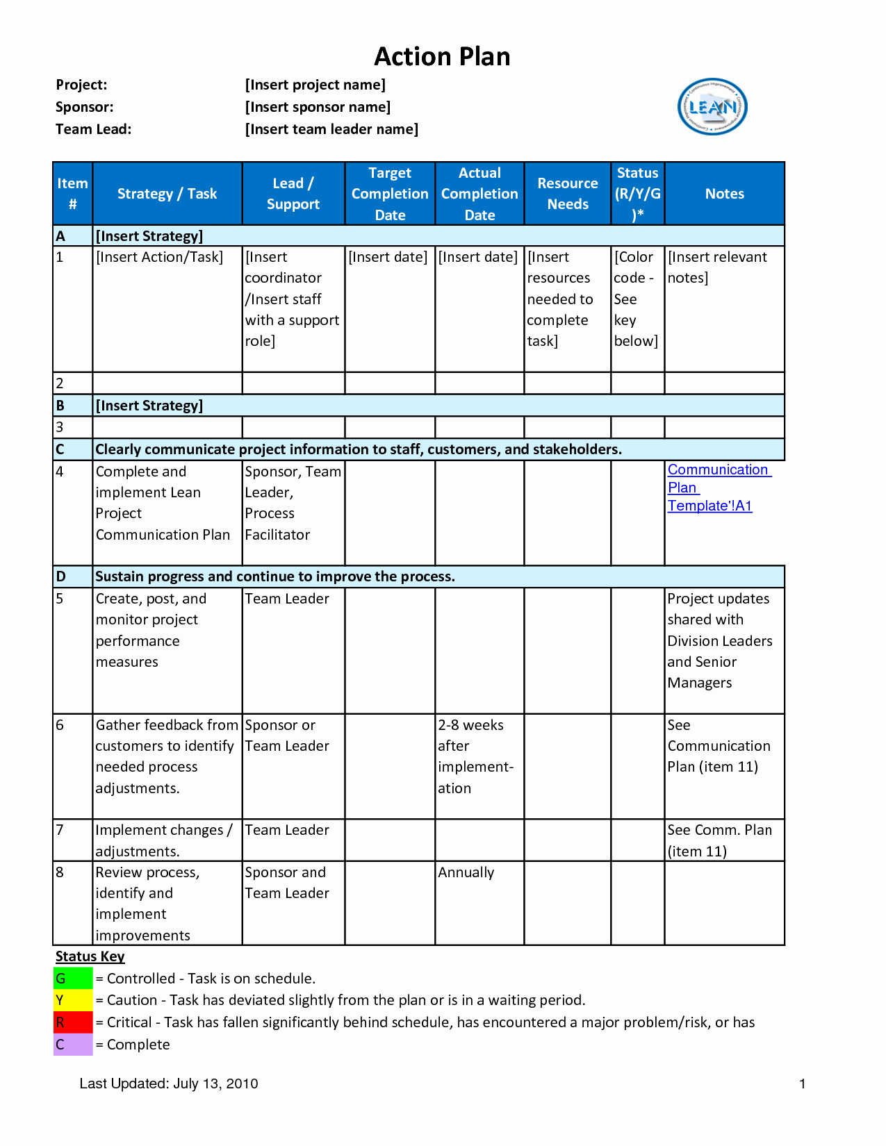 Project Action Plan Template Beautiful Action Plan with Tar Pletion Date