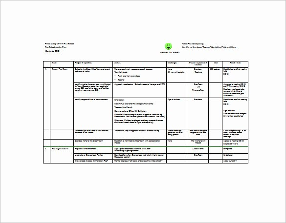 Project Action Plan Template Fresh Project Action Plan Template 17 Free Word Excel Pdf