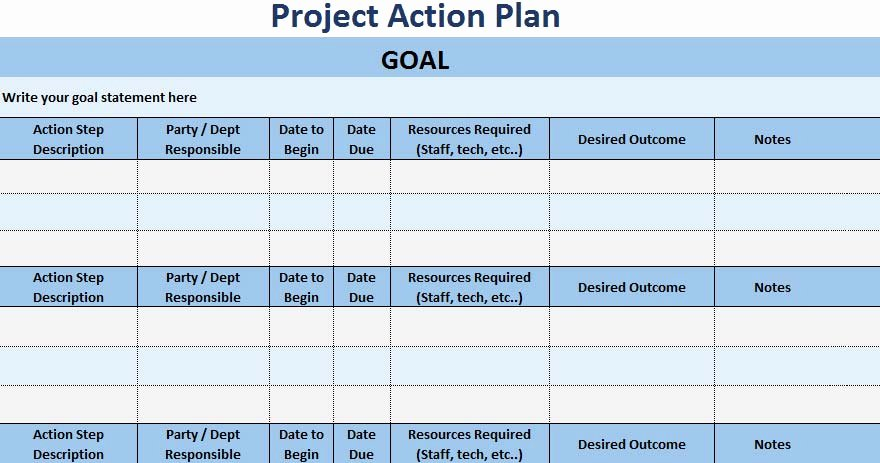 Project Action Plan Template Luxury 3 Free Project Action Plan Template Xls Free Excel