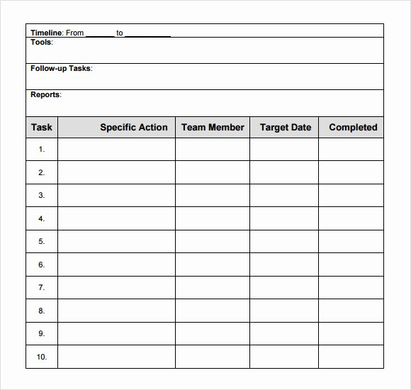 Project Action Plan Template New Action Plan Template 9 Free Samples Examples format